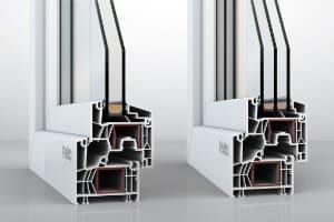Profilschnitt von Musterecken NovoLife mit zwei fach Glas und mit Dreifachverglasung.