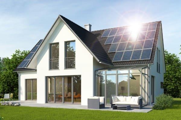 Ein 3D Modell eines Hauses mit Wintergarten