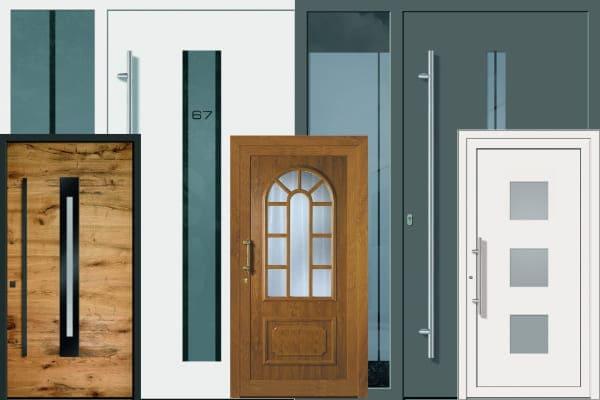 Verschiedene Arten von Haustueren aus Aluminium und Kunststoff in anthrazit, weiß und holz dekor.