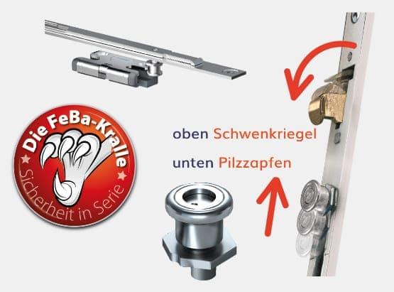 Basisschutz der FeBa Fenster mit FeBa Kralle, Pilzzapfen und Schließbleche.