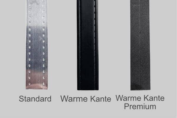 Bessere Wert durch verschiedene Warme Kanten und Randverbund in schwarz, alu, silber und swiss spacer.