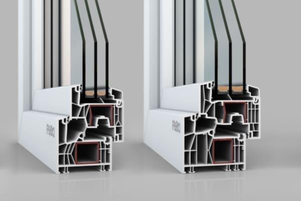 Zwei Fenster Profile mit Kammersystem beim PVC Fenster.