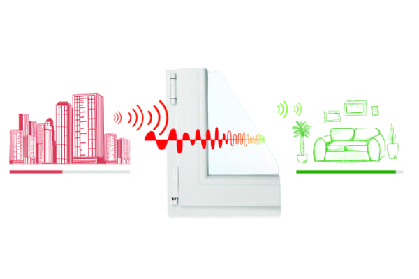 Funktionsgrafik für Schallschutzverglasung bei Balkontüren aus Kunststoff.