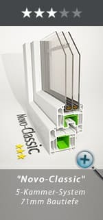 """Kunststofffenster """"Novo-Classic"""" 5-Kammer-System 71mm Bautiefe"""