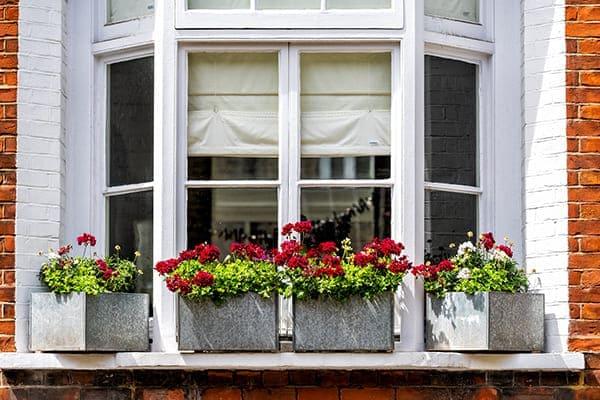 Altes Erkerfenster von außen mit Blumenkästen in Vordergrund.