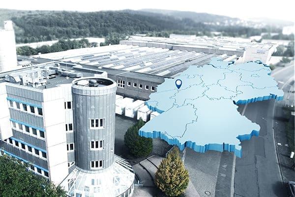 FeBa Fensterbau Werk von oben gesehen mit 3D Standort Skizze.