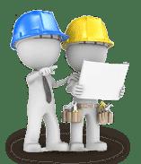 Zwei Handwerker mit Bauplan besprechen Aufmaß und Montage