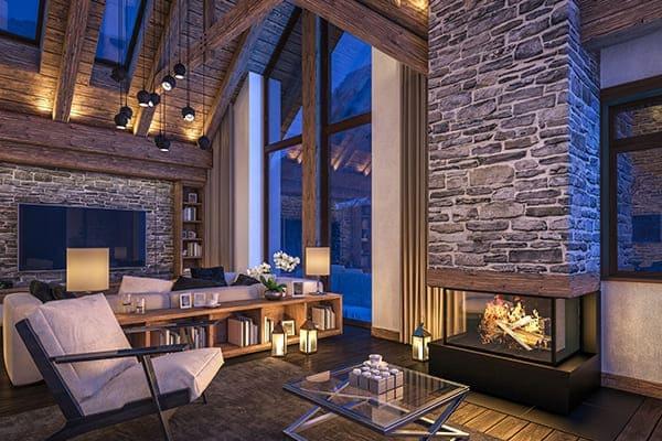 Wohnzimmer mit Ofen und großen Fenstern