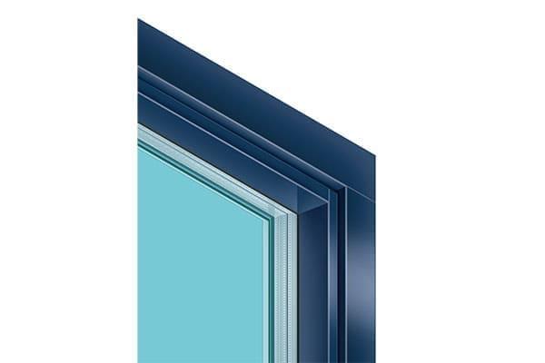 blauer Fensterrahmen