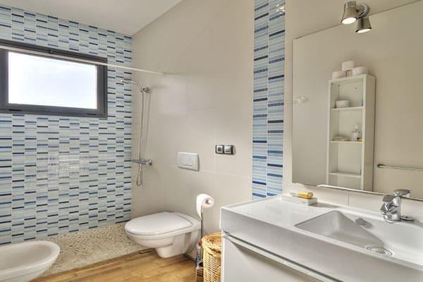 Badezimmer mit Dusche und Fenstermilchglas