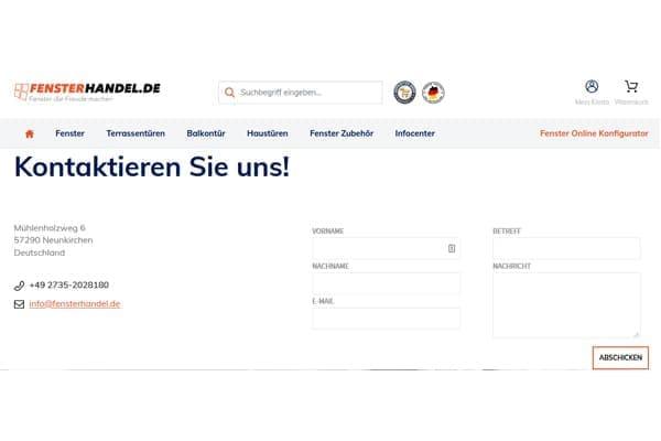 FensterHandel.de Kontakt Formular.