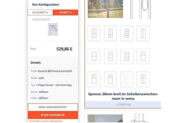FensterHandel.de online Konfigurator im Schritt zwei zur Sprossenauswahl.