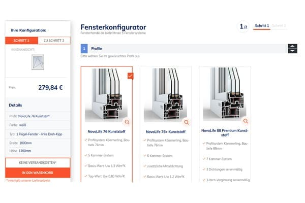 FensterHandel.de Konfigurator Schritt für Schritt.