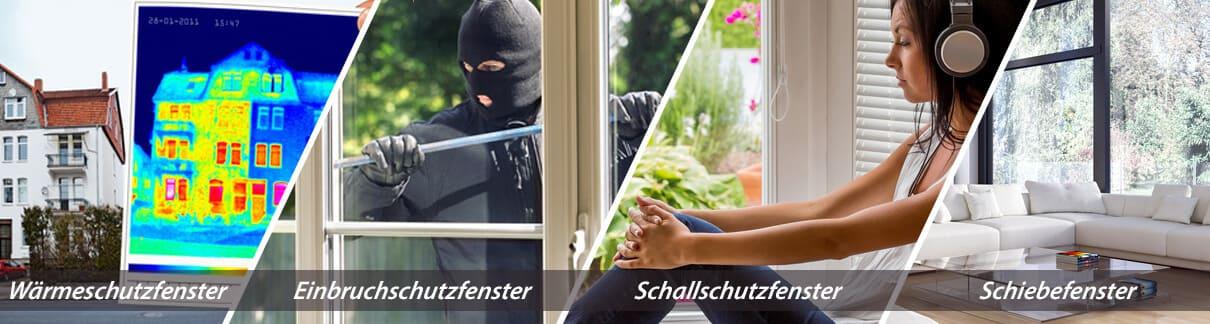 Fenster als Einbruchschutzfenster, Wärmeschutzfenster, Schallschutzfenster oder als Schiebefenster